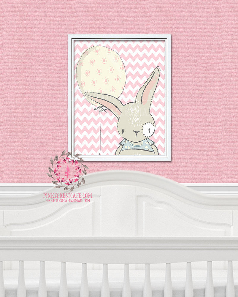 Boho Bunny Rabbit Balloon Woodland Printable Wall Art Nursery Decor Print