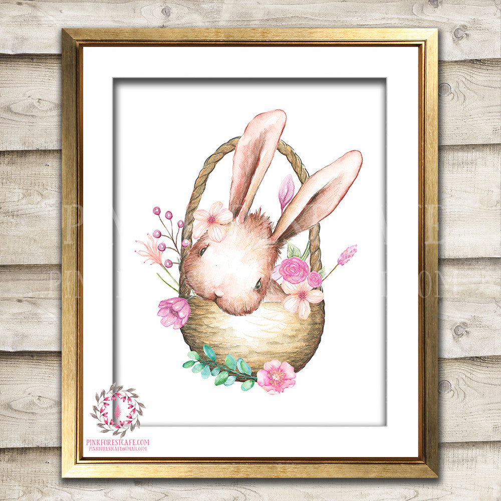 Boho Bohemian Bunny Rabbit In A Basket Woodland Printable Wall Art Print Garden Floral Nursery Baby Girl Room Decor