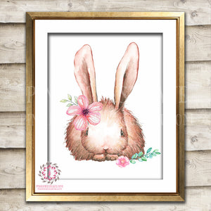 Boho Bohemian Bunny Rabbit Woodland Printable Wall Art Print Garden Floral Nursery Baby Girl Room Decor