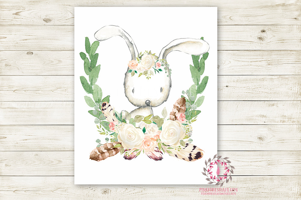 Bunny Rabbit Woodland Boho Wall Art Print Blush Feather Baby Girl Nursery Bohemian Floral Girl Room Printable Decor