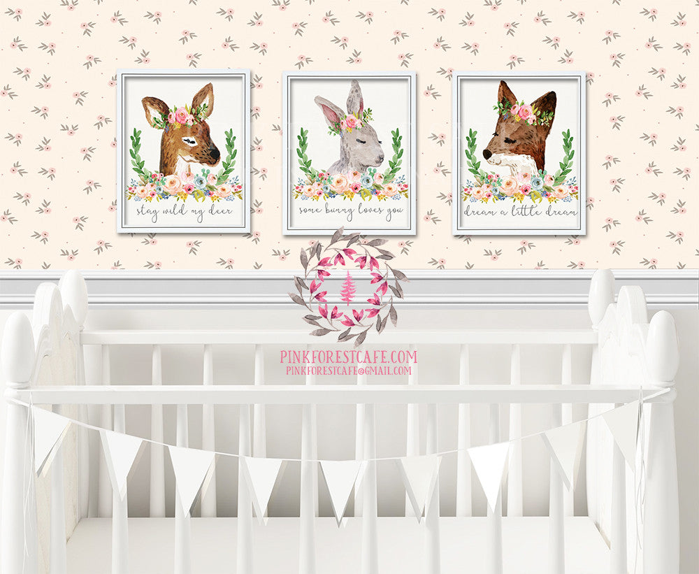 Set 3 Boho Deer Fox Bunny Rabbit Woodland Bohemian Floral Nursery Baby Girl Room Printable Print Wall Decor