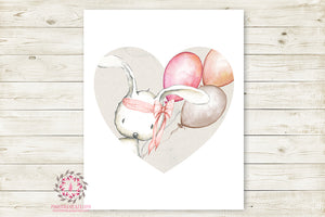 Bunny Rabbit Wall Art Print Woodland Boho Balloon Heart Bohemian Nursery Baby Girl Room Printable Decor