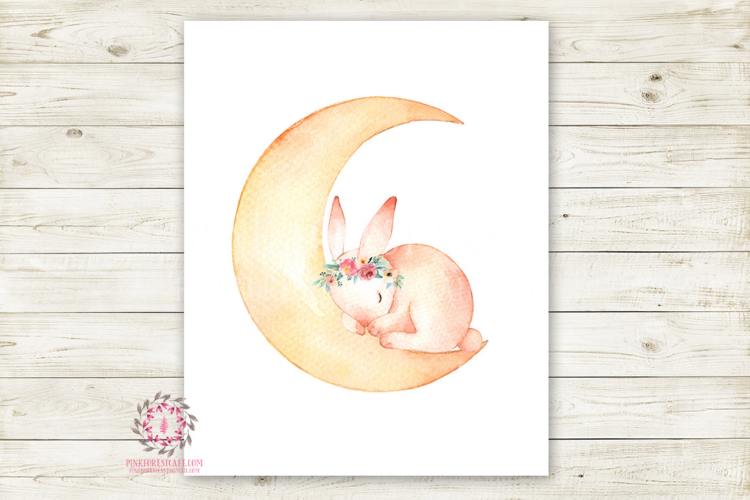 Bunny Rabbit Moon Boho Woodland Wall Art Print Baby Nursery Kids Room Watercolor Printable Decor