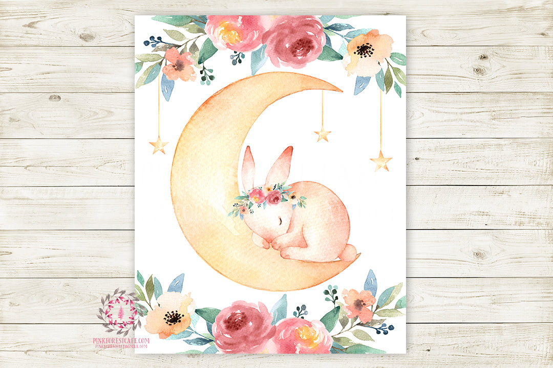 Bunny Rabbit Moon Stars Boho Woodland Wall Art Print Baby Nursery Kids Room Watercolor Printable Decor