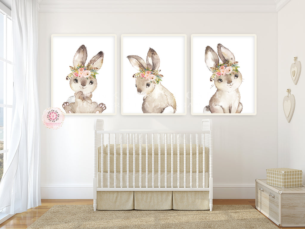 3 Boho Bunny Rabbit Wall Art Print Woodland Feather Nursery Baby Girl Room Blush Floral Bohemian Watercolor Set Prints Printable Decor