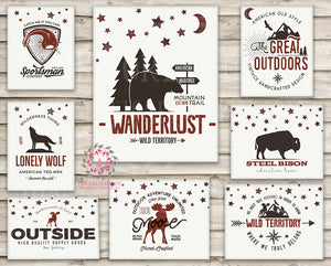 8 Wall Art Print Outdoors Bear Moose Adventure Rustic Woodland Nursery Baby Boy Plaid Check Room Set Lot Prints Printable Decor