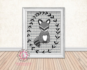 Woodland Raccoon Rustic Printable Print Baby Nursery Wall Art Room Decor