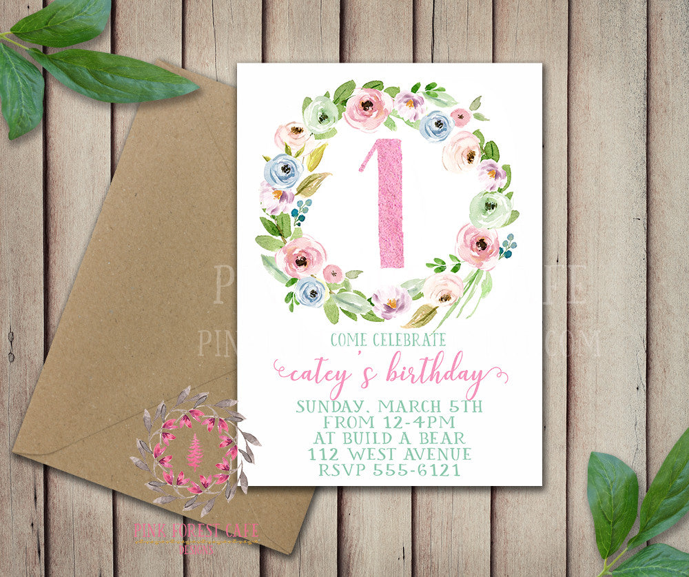 Baby Girl 1st 2nd 3rd 4th 5th Boho Garden Floral Birthday Party Invitation Announcement Invite Watercolor Printable Art Stationery Card