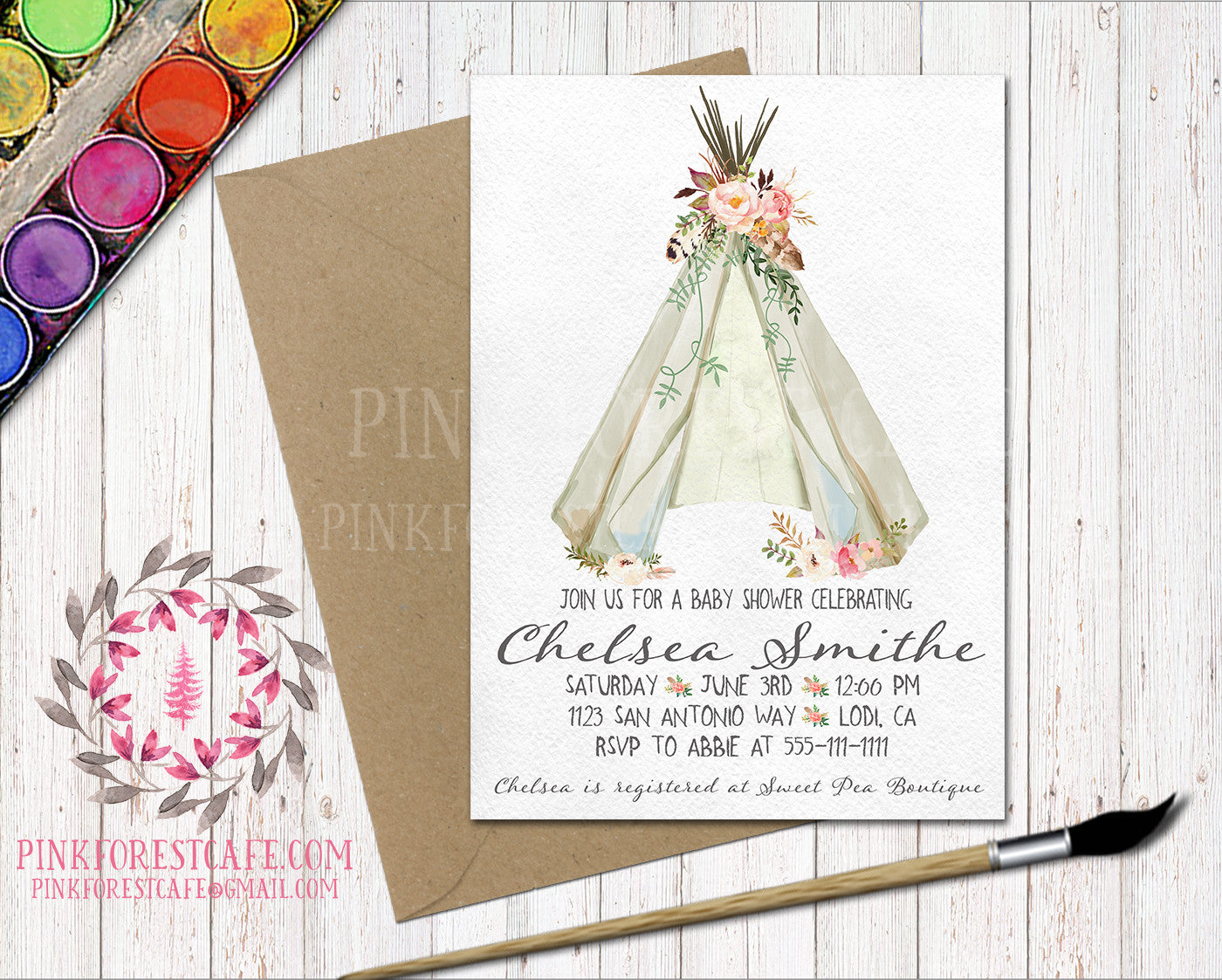 Boho Teepee Floral Watercolor Woodland Baby Bridal Shower Birthday Party Printable Invite Invitation