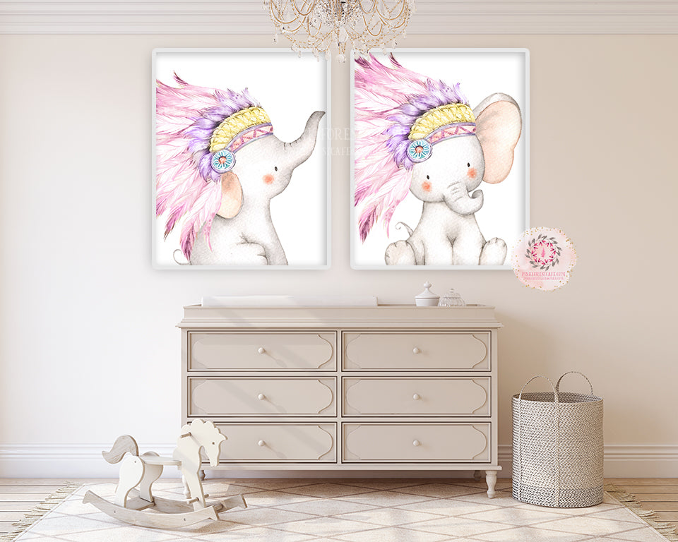 2 Boho Elephant Wall Art Print Baby Girl Nursery Pink Purple Feathers Headdress Tribal Whimsical Zoo Safari Animal Watercolor Printable Decor