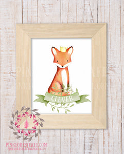 Clever Fox Watercolor Baby Boy Crown Woodland Printable Wall Art Nursery Home Decor