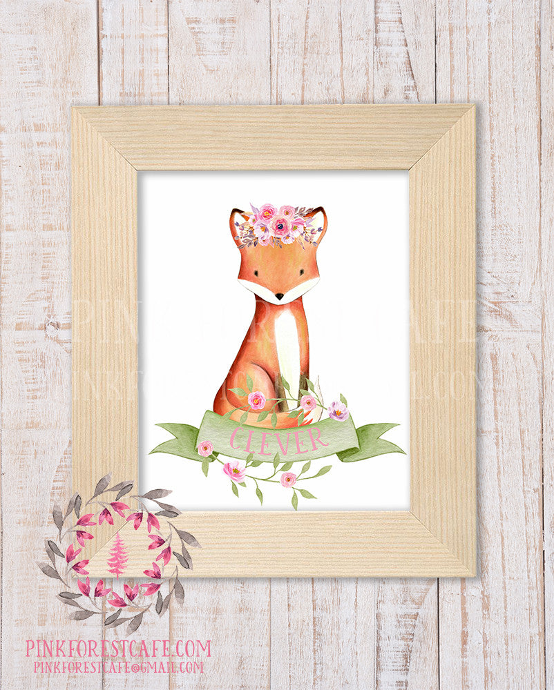 Fox Watercolor Floral Clever Flower Wreath Baby Girl Woodland Printable Wall Art Nursery Home Decor