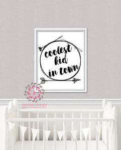 Coolest Kid In Town Arrow Tribal Printable Print Wall Art Baby Kids Nursery Decor