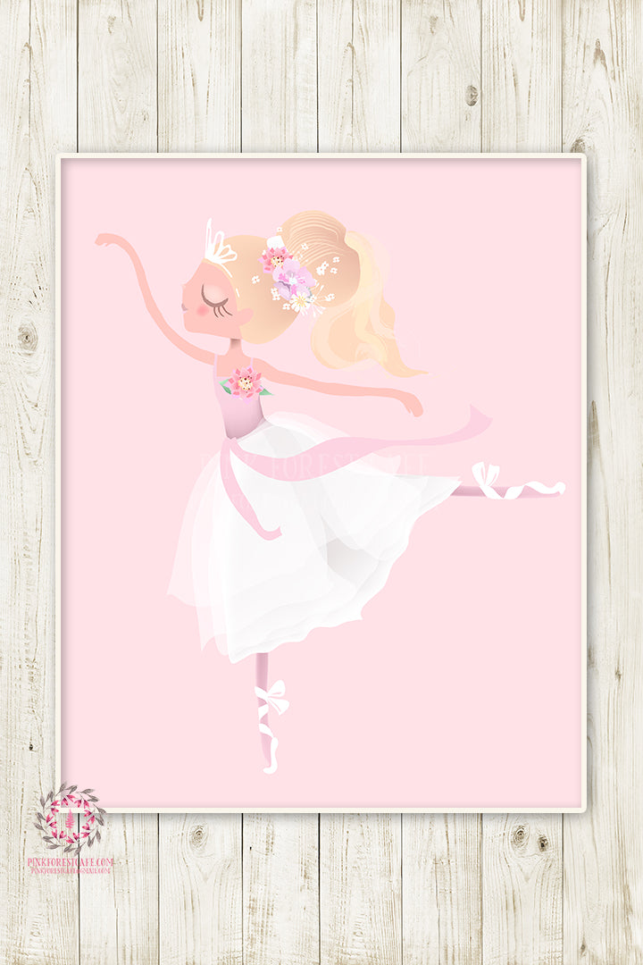 Ballerina Baby Girl Nursery Wall Art Print Ethereal Ballet Dancer Whimsical Bohemian Floral Printable Decor