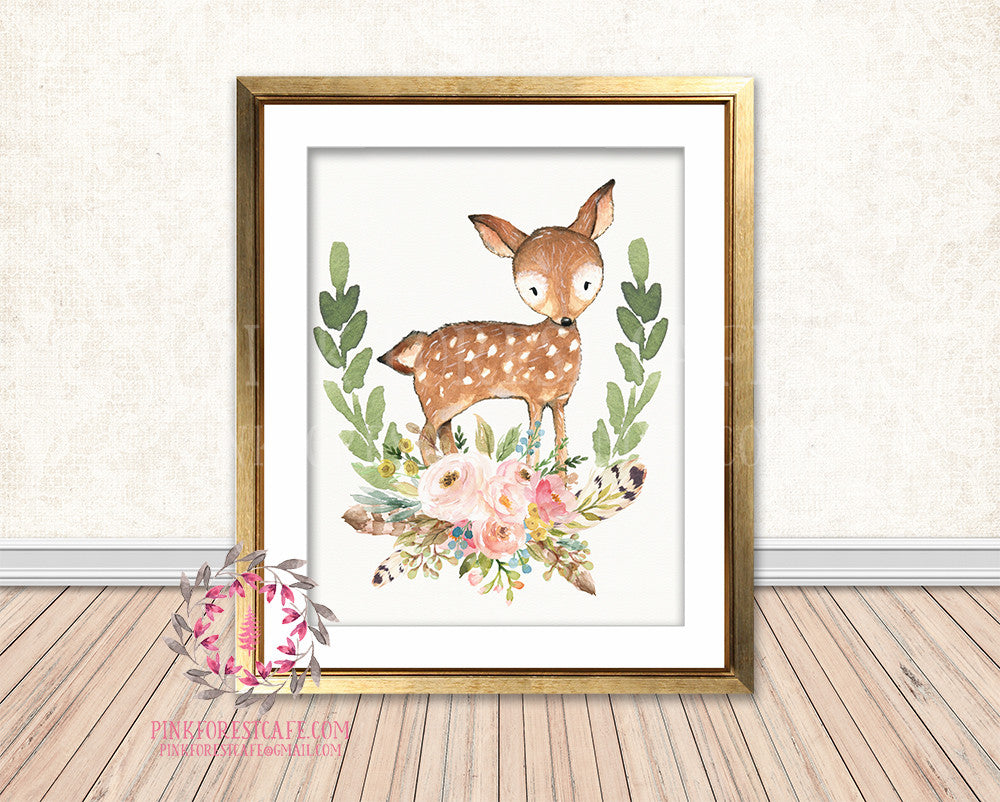 Boho Deer Bohemian Blush Floral Feather Woodland Nursery Baby Girl Room Printable Print Wall Art Decor