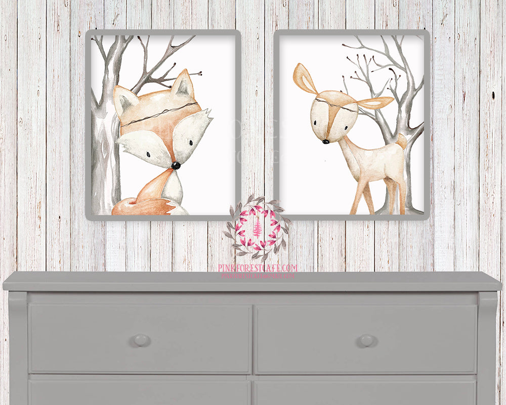 2 Deer Fox Printable Print Wall Art Woodland Boho Bohemian Nursery Baby Girl Boy Bedroom Set Prints Decor