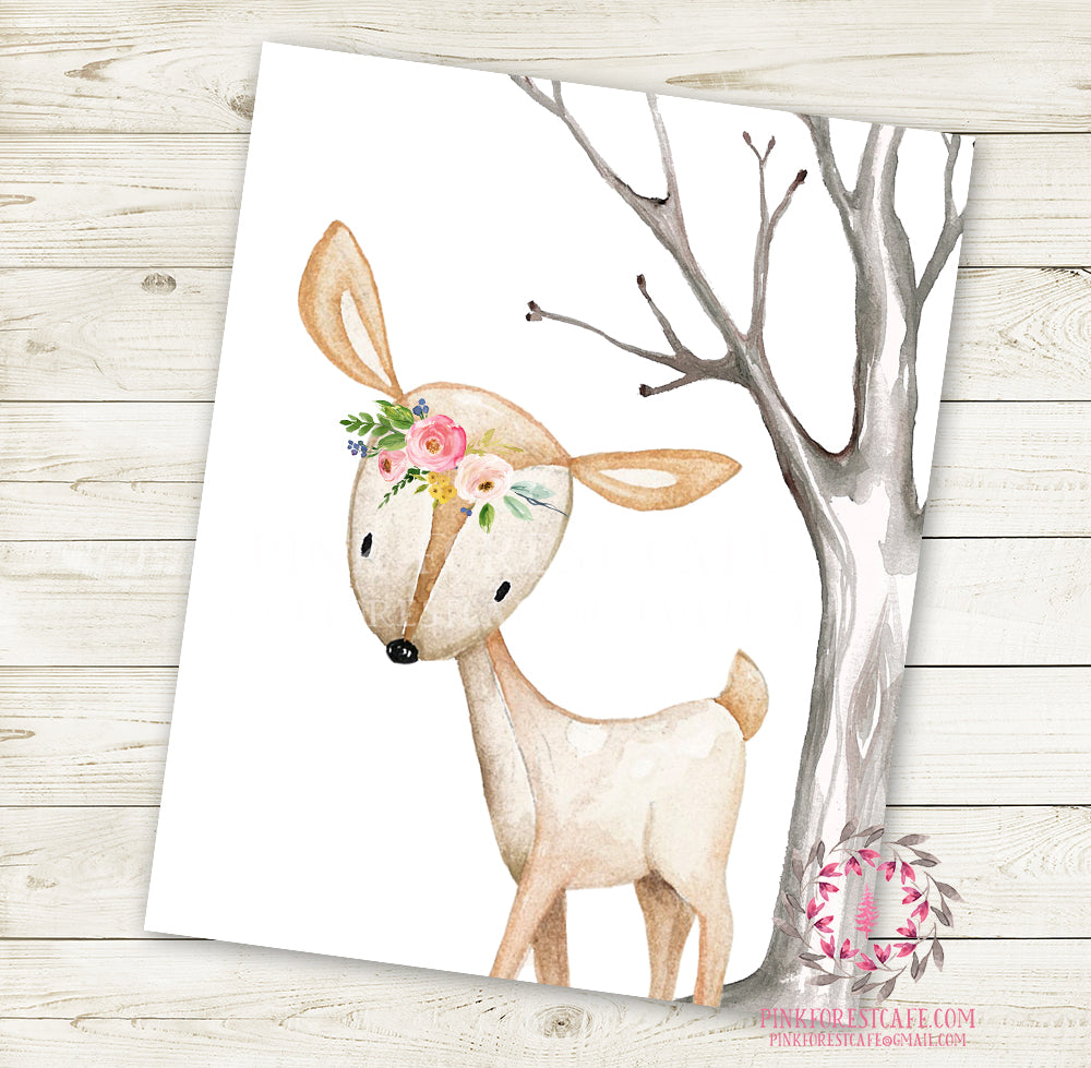 Boho Deer Doe Fawn Wall Art Print Floral Nursery Baby Girl Room Watercolor Woodland Bohemian Printable Decor