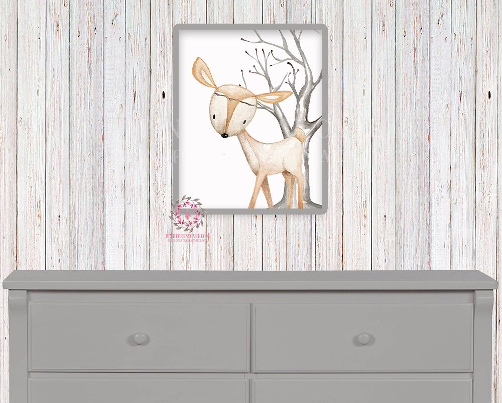 Deer Printable Print Wall Art Woodland Boho Bohemian Nursery Baby Girl Boy Bedroom Set Prints Decor