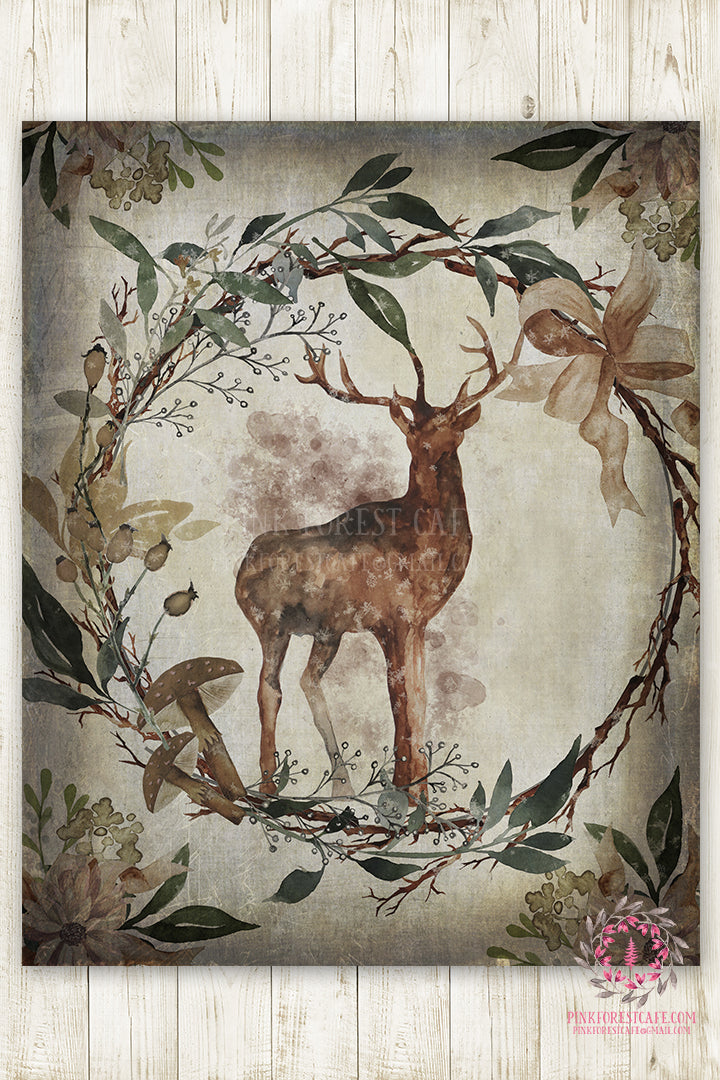 Deer Antlers Woodland Boho Printable Wall Art Print Ethereal Baby Nursery Room Watercolor Decor