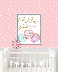 I'll Eat You Up I Love You So Wild Things Donut Printable Print Wall Art Watercolor Nursery Room Decor