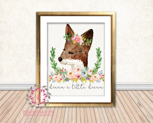 Boho Fox Dream A Little Dream Woodland Bohemian Floral Nursery Baby Girl Room Printable Print Wall Decor