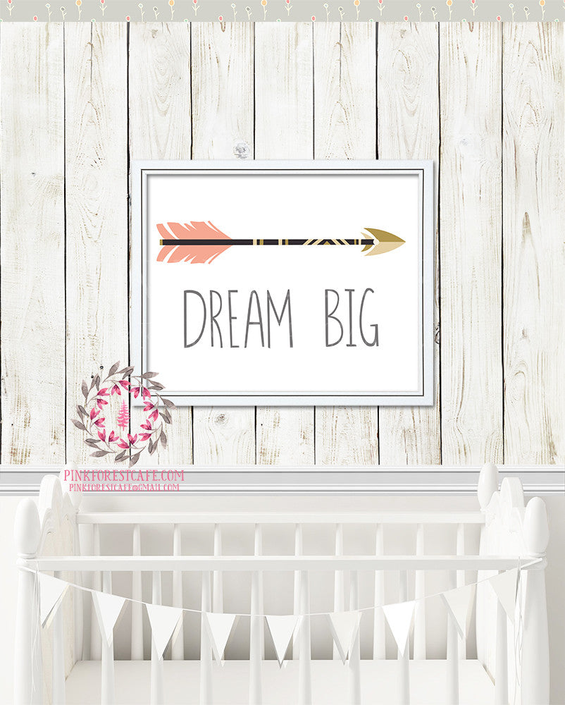 Boho Dream Big Arrow Watercolor Printable Print Wall Art Poster Nursery Decor