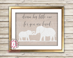 Dream Big Heart Elephant Mama Zoo Printable Print Wall Art Baby Nursery Home Decor