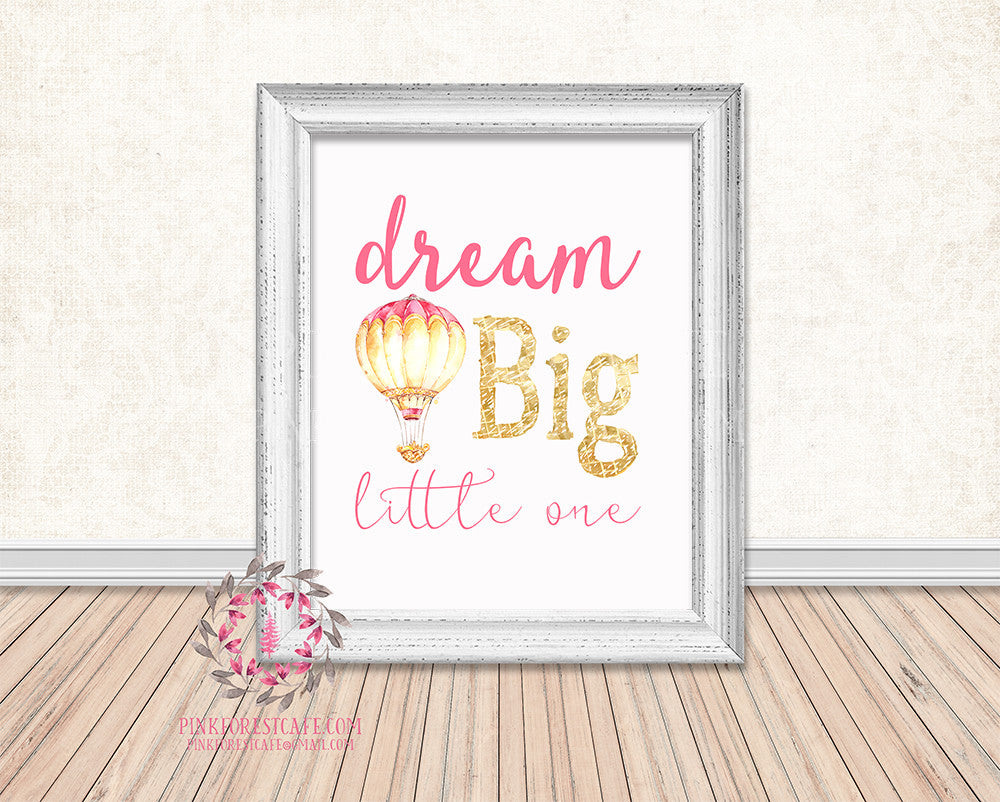Dream Big Little One Pink Gold Hot Air Balloon Boho Baby Girl Boy Room Watercolor Printable Wall Art Nursery Home Decor