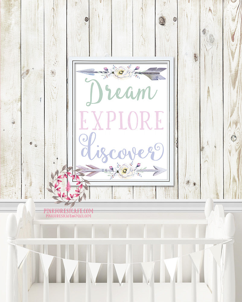 Boho Dream Explore Discover Arrow Tribal Printable Print Wall Art Poster Nursery Decor