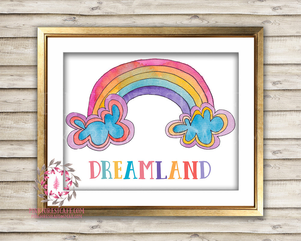 Dreamland Rainbow Clouds Watercolor Baby Girl Room Printable Wall Art Nursery Decor Print