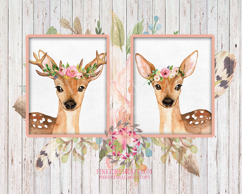 Set 2 Boho Bohemian Watercolor Deer Woodland Antlers Printable Wall Art Print Garden Floral Nursery Baby Girl Room Decor