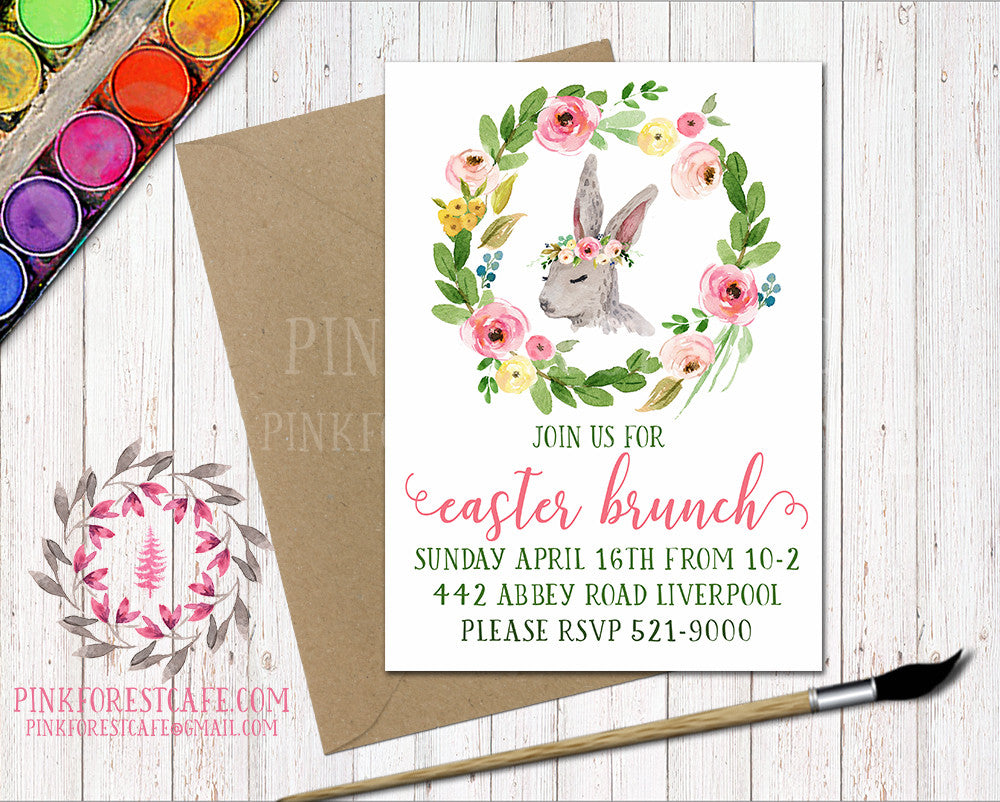 Bunny Rabbit Woodland Easter Brunch Boho Garden Floral Birthday ...