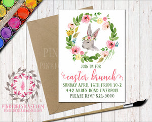 Bunny Rabbit Woodland Easter Brunch Boho Garden Floral Birthday Party Baby Bridal Shower Invitation Announcement Invite Watercolor Printable