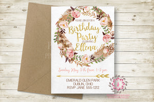 Boho Woodland Birthday Party Baby Bridal Shower Invites Invite Wedding Invitation Save The Date Announcement Invite Feathers Tribal Watercolor Floral Rustic Printable