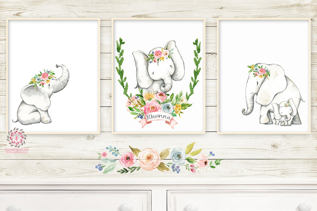 3 Boho Elephant Baby Name Wall Art Print Nursery Baby Girl Room Set Lot Watercolor Personalized Prints Printable Decor