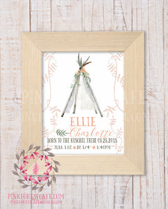 Boho Baby Birth Stats Announcement Girl Teepee Tribal Woodland Nursery Room Printable Print Wall Art Decor
