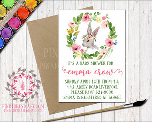 Bunny Rabbit Woodland Boho Garden Floral Birthday Party Baby Bridal Shower Invitation Announcement Invite Watercolor Printable