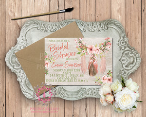 Dreamcatcher Watercolor Tribal Theme Baby Bridal Shower Birthday Party Printable Invitation Invite