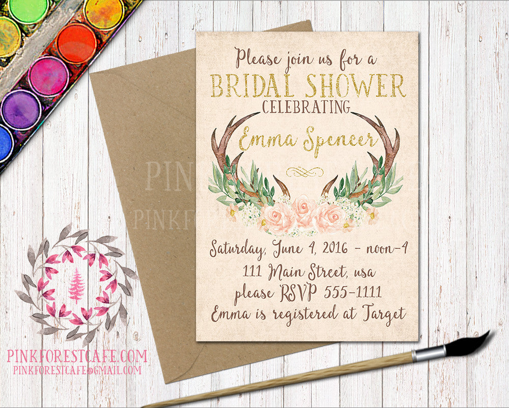 Woodland Baby Bridal Shower Birthday Party Boho Antlers Printable Invitation Invite Announcement