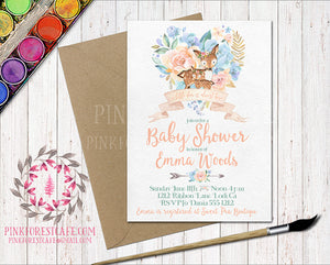 Boho Woodland Deer Fawn Baby Bridal Shower Birthday Party Invitation Invite Floral Printable