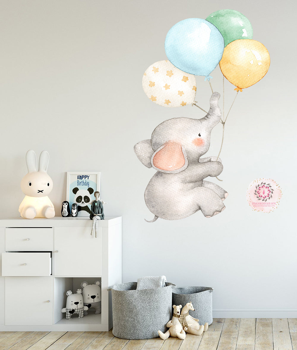 "SALE 30"" Elephant Balloons Watercolor Wall Decal Sticker Baby Nursery Art Decor"