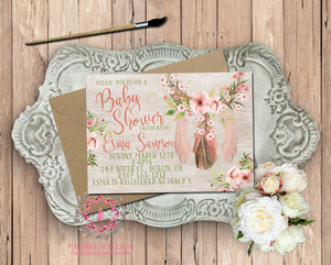 Dreamcatcher Invite Invitation Tribal Theme Baby Bridal Shower Wedding Birthday Party Watercolor Printable