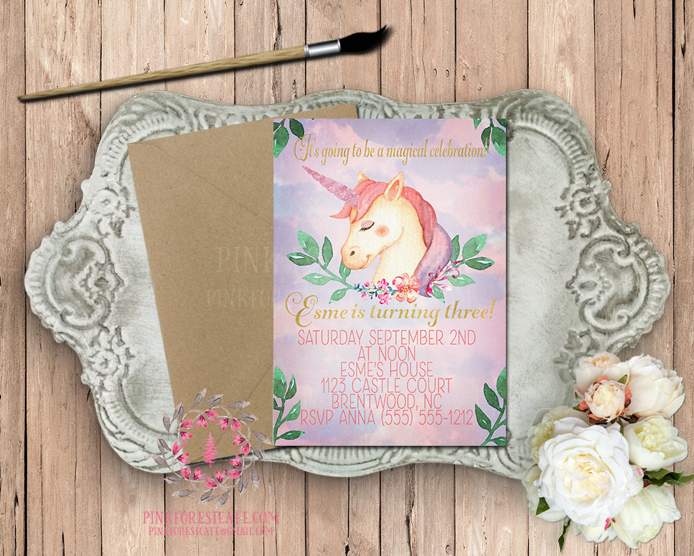 Unicorn Birthday Theme Girl Party Invite Invitation Baby Shower Announcement Watercolor Floral Printable Art