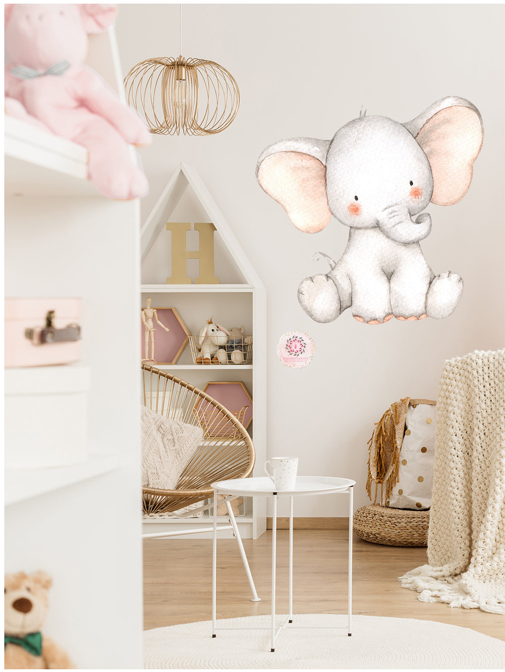 Elephant Watercolor Wall Decal Sticker Baby Nursery Art Decor