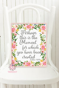 Esther 4:14 Bible Verse Boho Nursery Wall Art Print Perhaps This Is The Moment For Which You Have Been Created Watercolor Baby Room Printable Decor