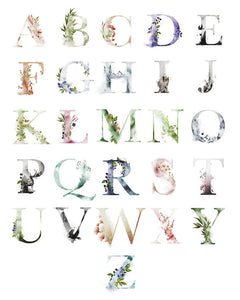 Ethereal Woodland Boho Abc Alphabet Sampler Wall Art Print Poster Sign