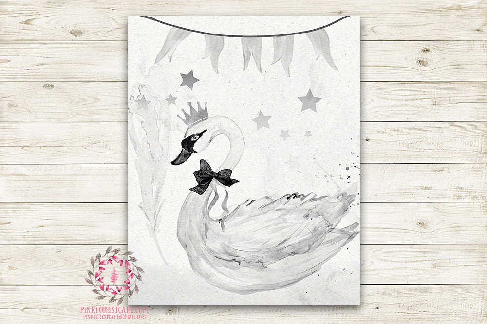 Boho Swan Monochrome Nursery Wall Art Print Ethereal Black White Rustic Printable Circus Watercolor Mystery Fantasy Magical Carnival Decor