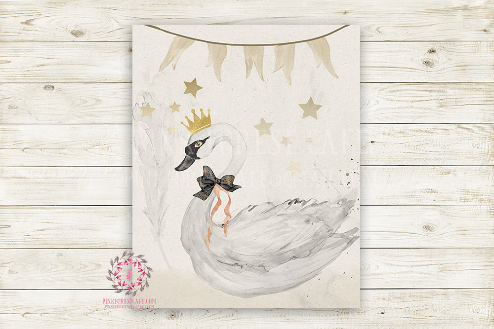 Boho Swan Monochrome Nursery Wall Art Print Baby Girl Ethereal Rustic Printable Watercolor Mystery Fantasy Magical Carnival Decor