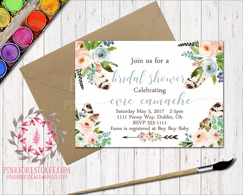 Boho Feathers Baby Bridal Shower Birthday Party Wedding Printable Invitation Invite Announcement