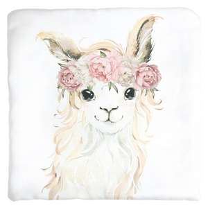 Llama Watercolor Baby Girl Nursery Throw Pillow Decor